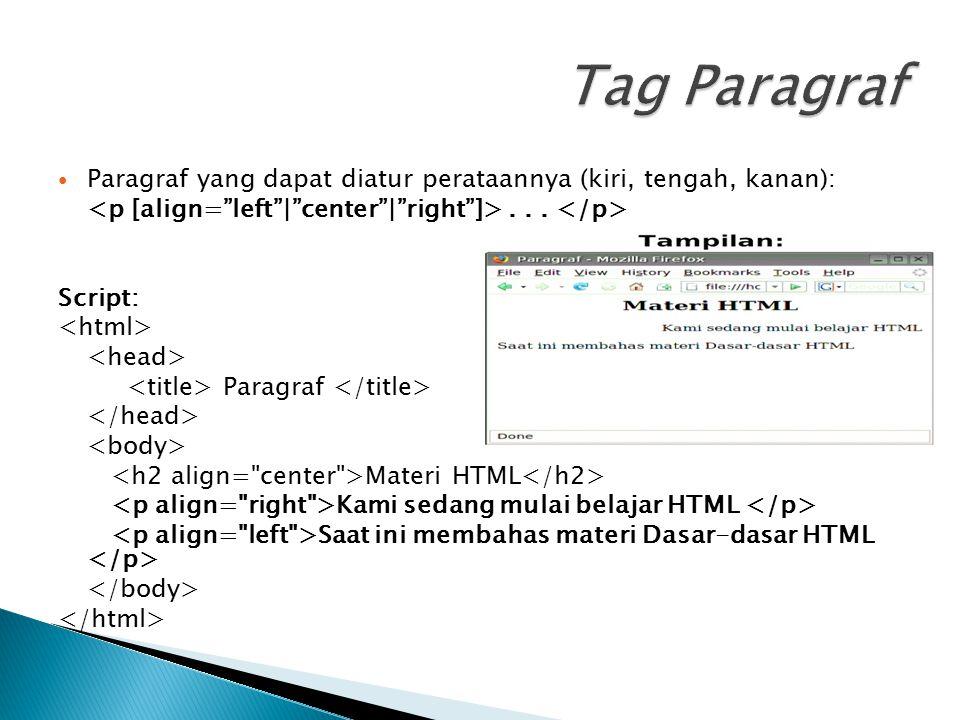 Tag Paragraf Paragraf yang dapat diatur perataannya (kiri, tengah, kanan): <p [align= left | center | right ]> . . . </p>